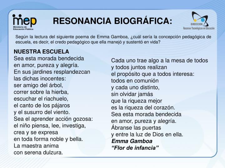 RESONANCIA BIOGRÁFICA: