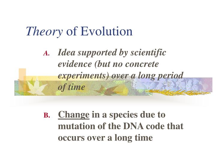 theory of evolution n.
