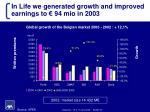 in life we generated growth and improved earnings to 94 mio in 2003