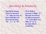 specificity sensitivity