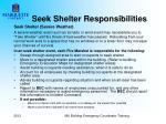 seek shelter responsibilities