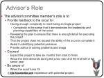 advisor s role