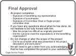 final approval