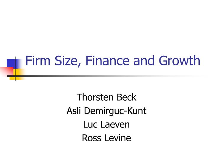firm size finance and growth n.