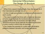 horizontal differentiation the design of structure4