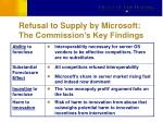 refusal to supply by microsoft the commission s key findings