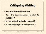 critiquing writing