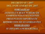 decreto 45 2007 del 19 de enero de 2007