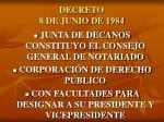 decreto 8 de junio de 1984
