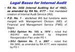 legal bas es for internal audit