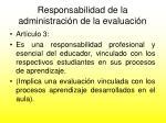 responsabilidad de la administraci n de la evaluaci n