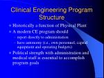 clinical engineering program structure