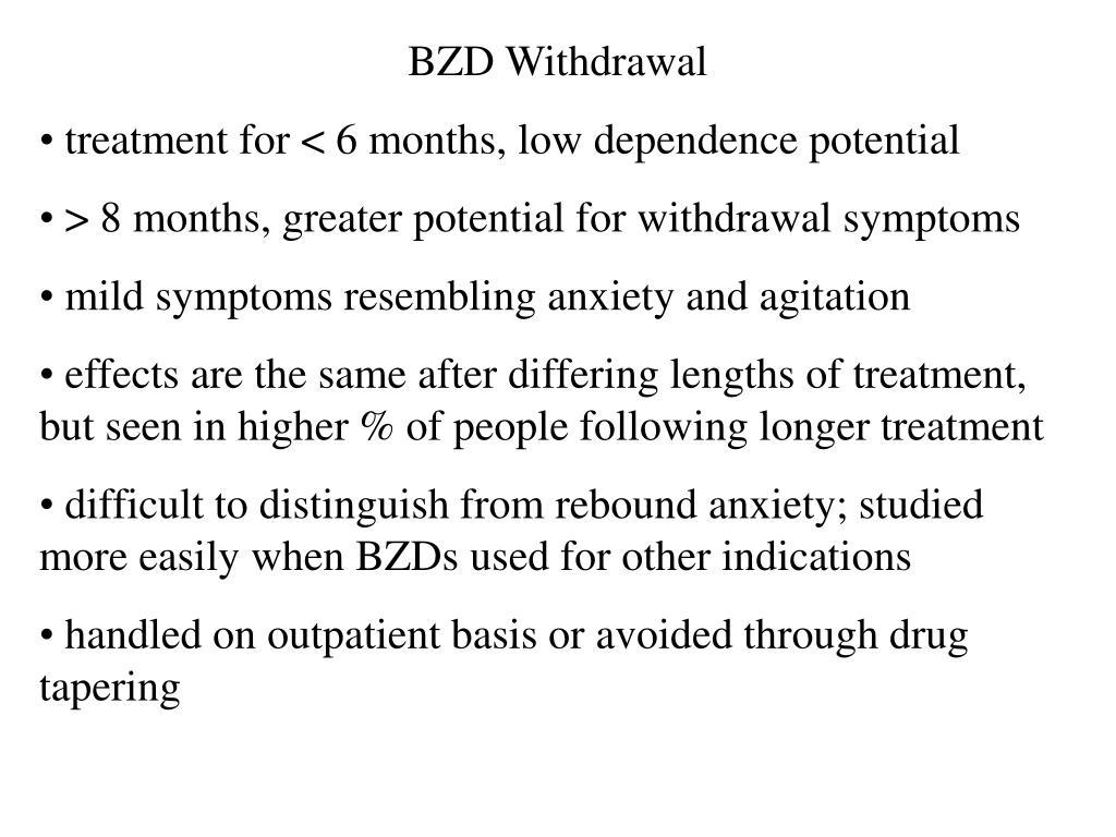 BZD Withdrawal