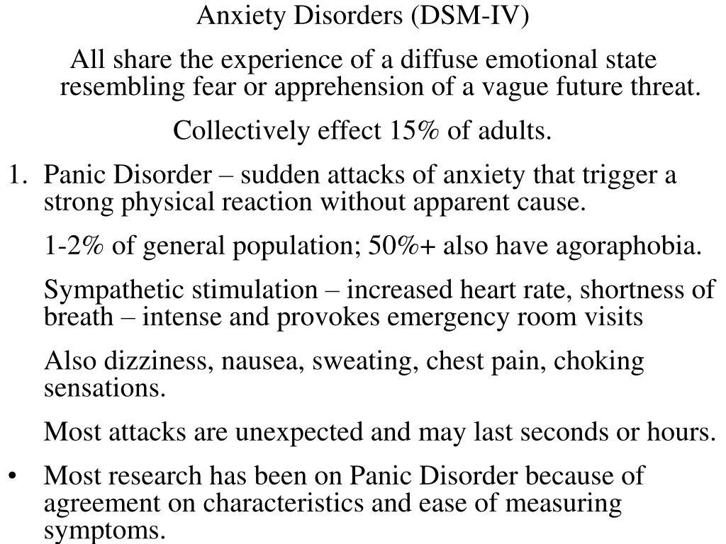Anxiety Disorders (DSM-IV)