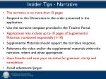 insider tips narrative
