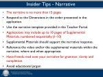 insider tips narrative