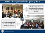 paemst recognition events january 2010