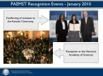 paemst recognition events january 20101