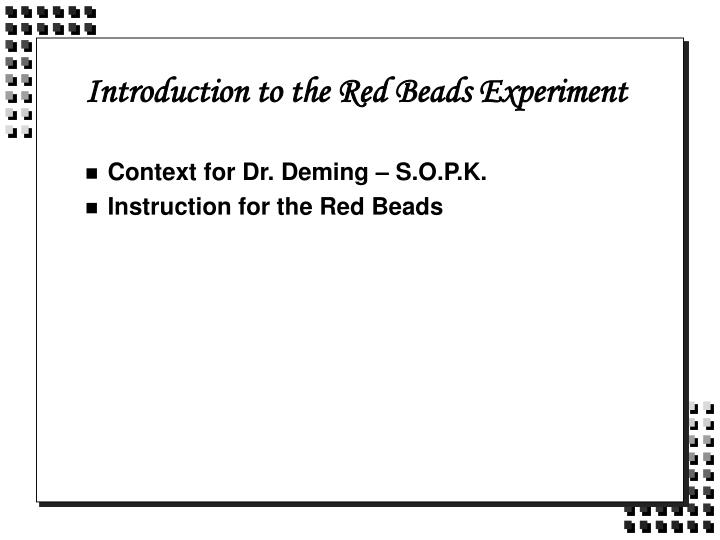 introduction to the red beads experiment n.