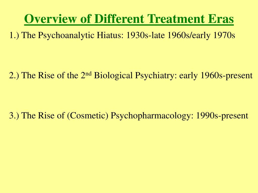 Overview of Different Treatment Eras