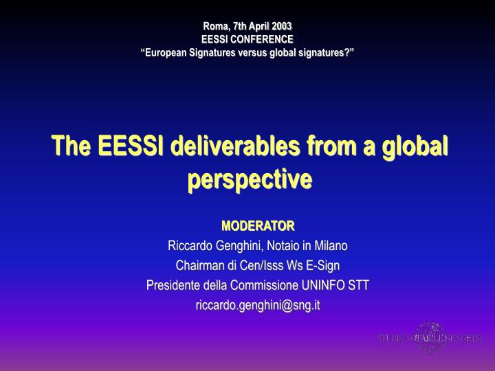 the eessi deliverables from a global perspective n.