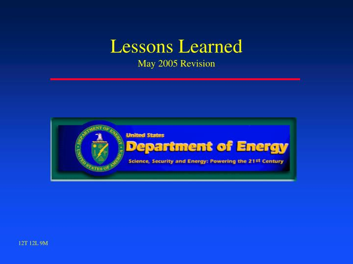 lessons learned may 2005 revision n.