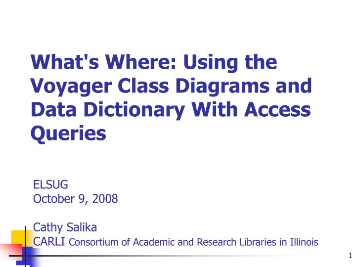 what s where using the voyager class diagrams and data dictionary with access queries n.