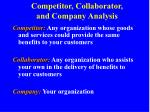 competitor collaborator and company analysis