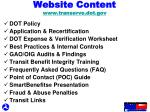 website content www transerve dot gov