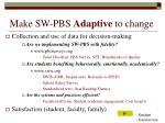 make sw pbs adaptive to change