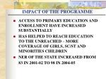 impact of the programme