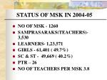 status of msk in 2004 05