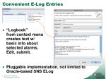 convenient e log entries