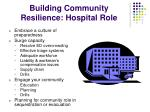 building community resilience hospital role