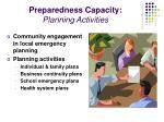 preparedness capacity planning activities