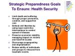 strategic preparedness goals to ensure health security