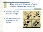 they believed that each of these sources had different qualities