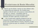 el relativismo de benito mussolini