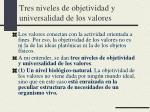 tres niveles de objetividad y universalidad de los valores