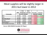 meat supplies will be slightly larger in 2011 but lower in 2012