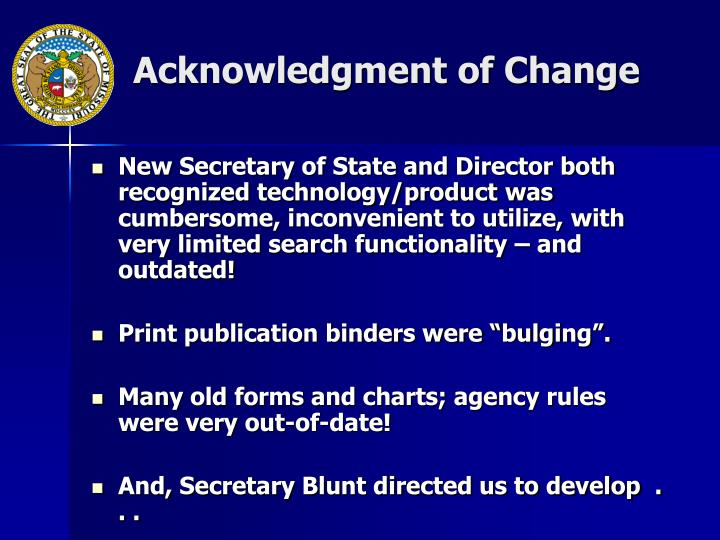 Acknowledgment of Change