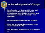 acknowledgment of change