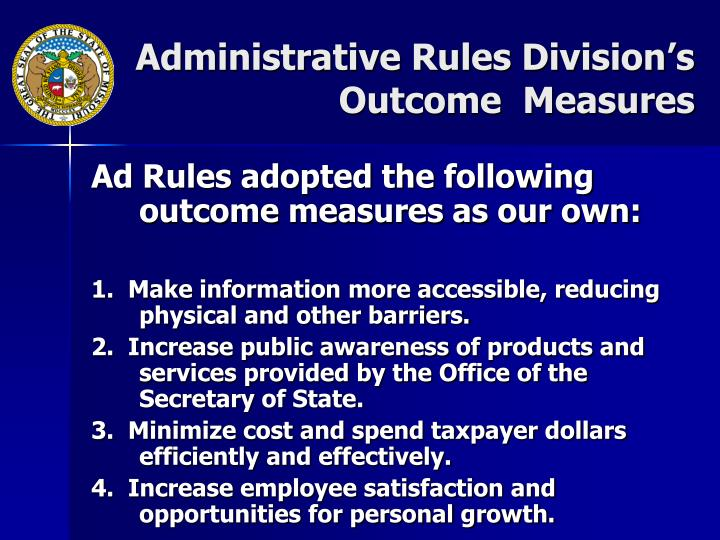 Administrative Rules Division's Outcome  Measures