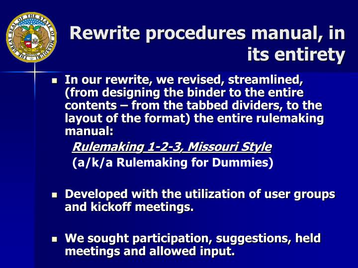 Rewrite procedures manual, in its entirety