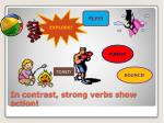 in contrast strong verbs show action