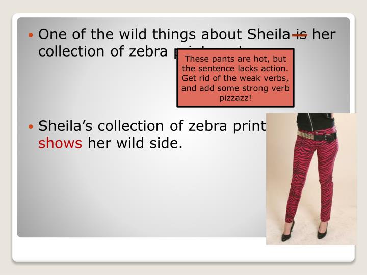 One of the wild things about Sheila is her collection of zebra print pants.
