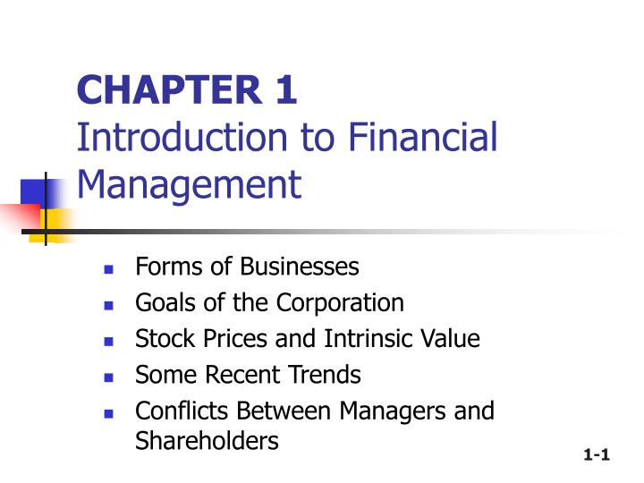 chapter 1 introduction to financial management n.