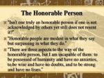 the honorable person