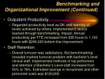 benchmarking and organizational improvement continued