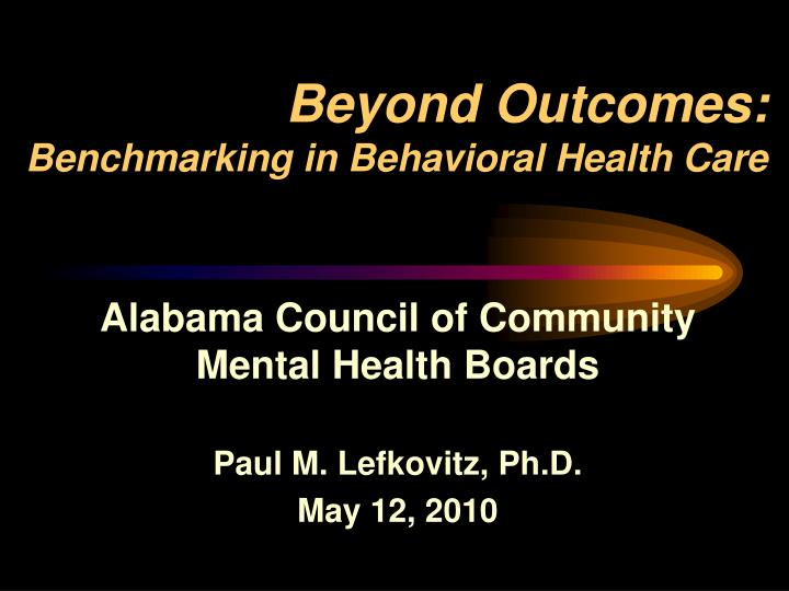 beyond outcomes benchmarking in behavioral health care n.